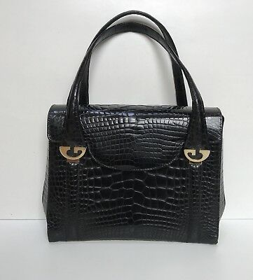 "1980's Vintage Gucci Glossy Black Alligator Kelly Bag 10"" L x 8"" H x 3.5"" W"