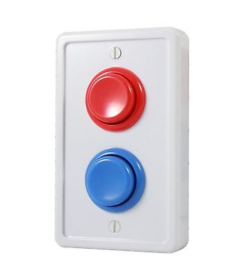 Arcade Light Switch Plate Cover, Single Switch (White/Red/Blue), 1-Gang Standard 2 Single Switchplate Cover