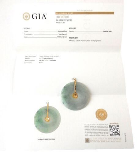 Vintage Mottled green Jadeite Jade Bi Disc pendant  w / GIA Certificate