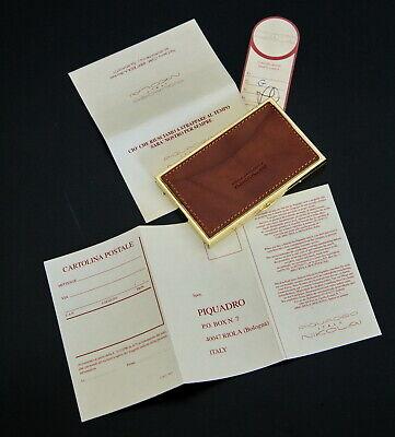 Piquadro Italy Nikolai Boxed Brown Leather Gold Tone Metal Business Card Holder