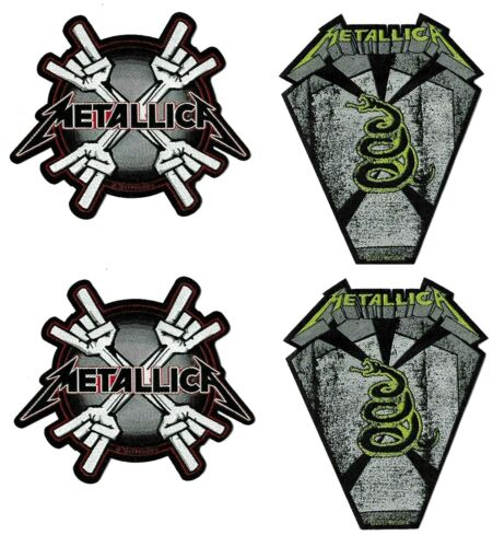 Metallica Metal Horns + Pit Boss Coffin 4 Patch Set [UK Import] Die-Cut Patches