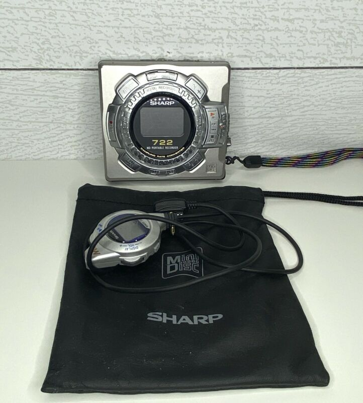 Working Sharp Portable MiniDisc Player Recorder MD-MS722 Needs Battery