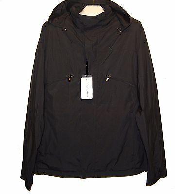 Versace Black Men's Rain Coat Hidden Hood Jacket Size US 46 EU 56 NEW