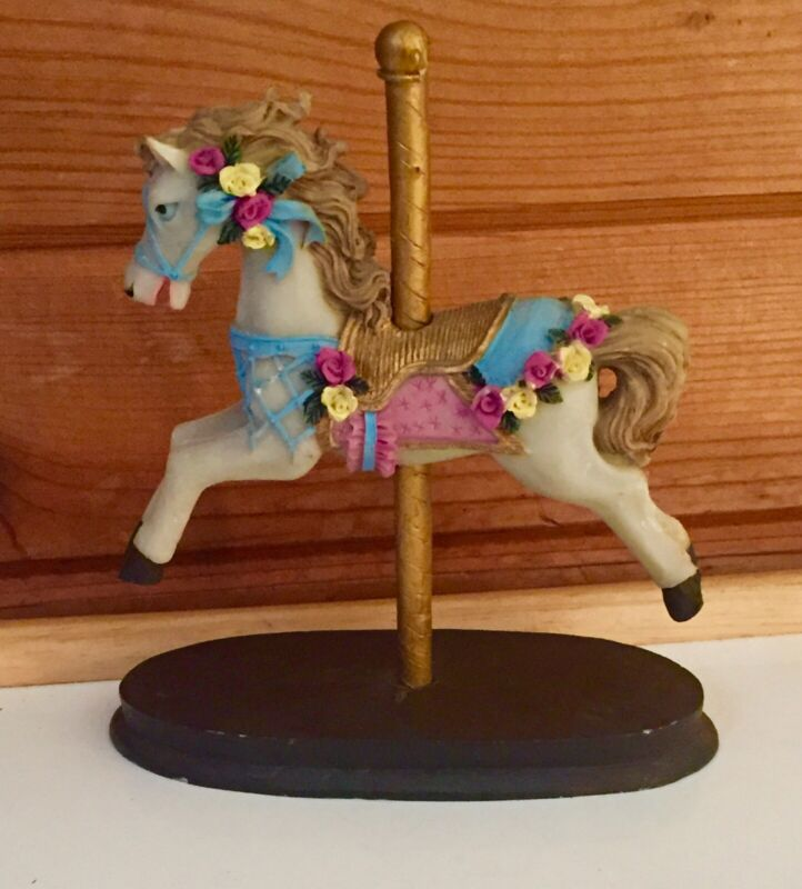 Resin Carousel Horse With Wood Base. Ships Free In The USA!