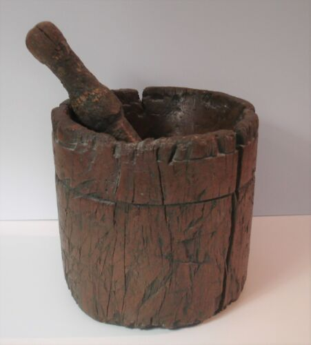 18th Century Wood Apothecary Mortar and Pestle