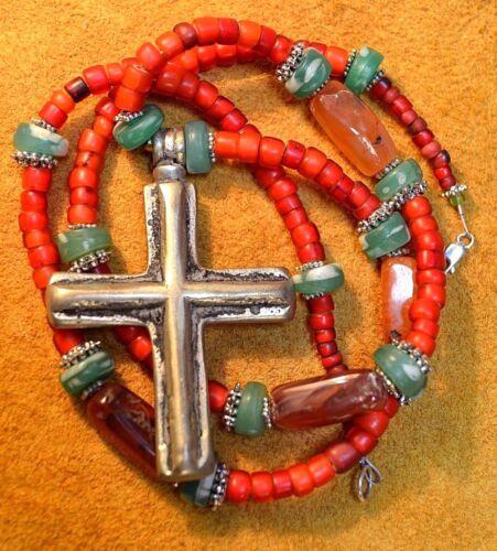 Antique Ethiopian Christian Cross Pendant Antique Venetian Czech Beads, Necklace