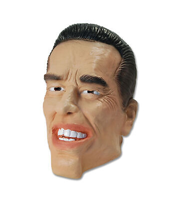 Arnie der Terminator Gummi Gesicht Kopf Maske Promi Kostüm Erwachsene Herren - Kostüm Der Promis