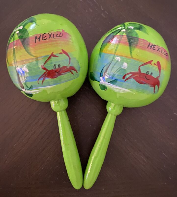 "Vintage Pre-2000 Hand Crafted & Hand Painted Pair Of Musical Maraca""s ""Mexico"""