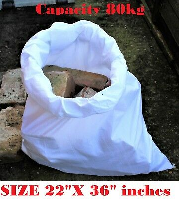 100 WOVEN POLYPROPYLENE RUBBLE BUILDER SACKS BAGS 22x36