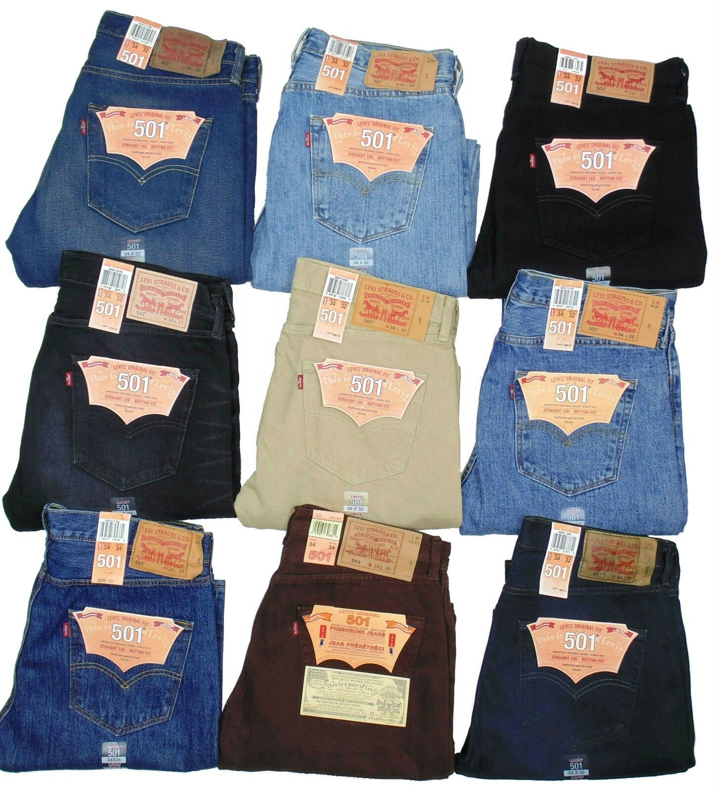 Купить Levi's 501 - Levis 501 Jeans Button Fly Mens Authentic Many Colors Many Sizes New With Tags!!