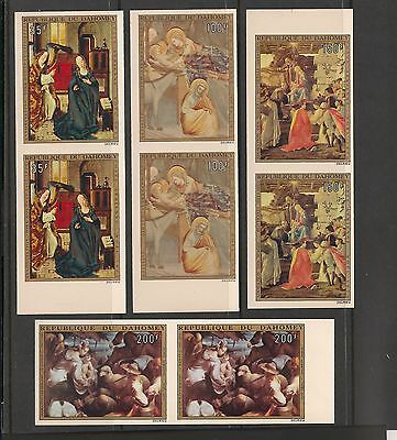 Dahomey #C195-C198 MNH Imperforated Pairs - 1973 35fr to 200fr Paintings  for sale  Shipping to Canada