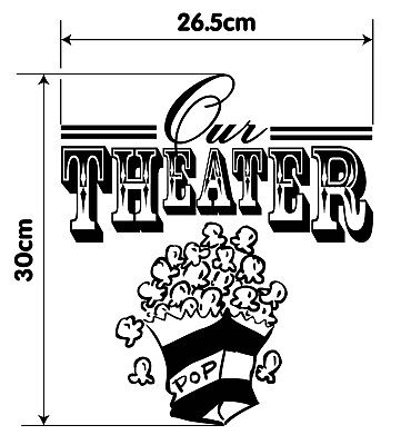 Our Theater Popcorn VINYL DECAL Home Family Movie Cinema WALL ART DECOR