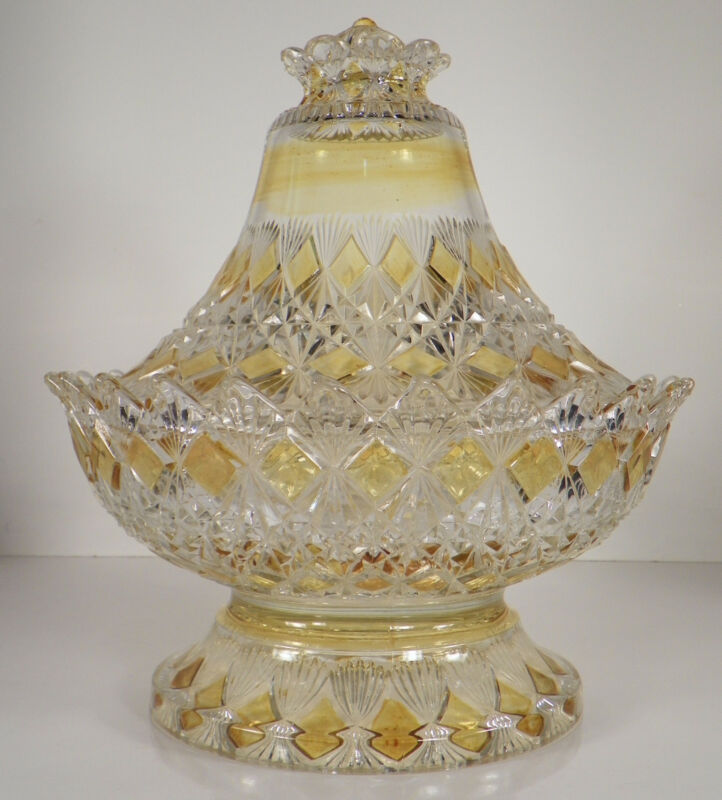 Antique EAPG King FINE CUT AND BLOCK Glass Butter Dish Amber Yellow Stain