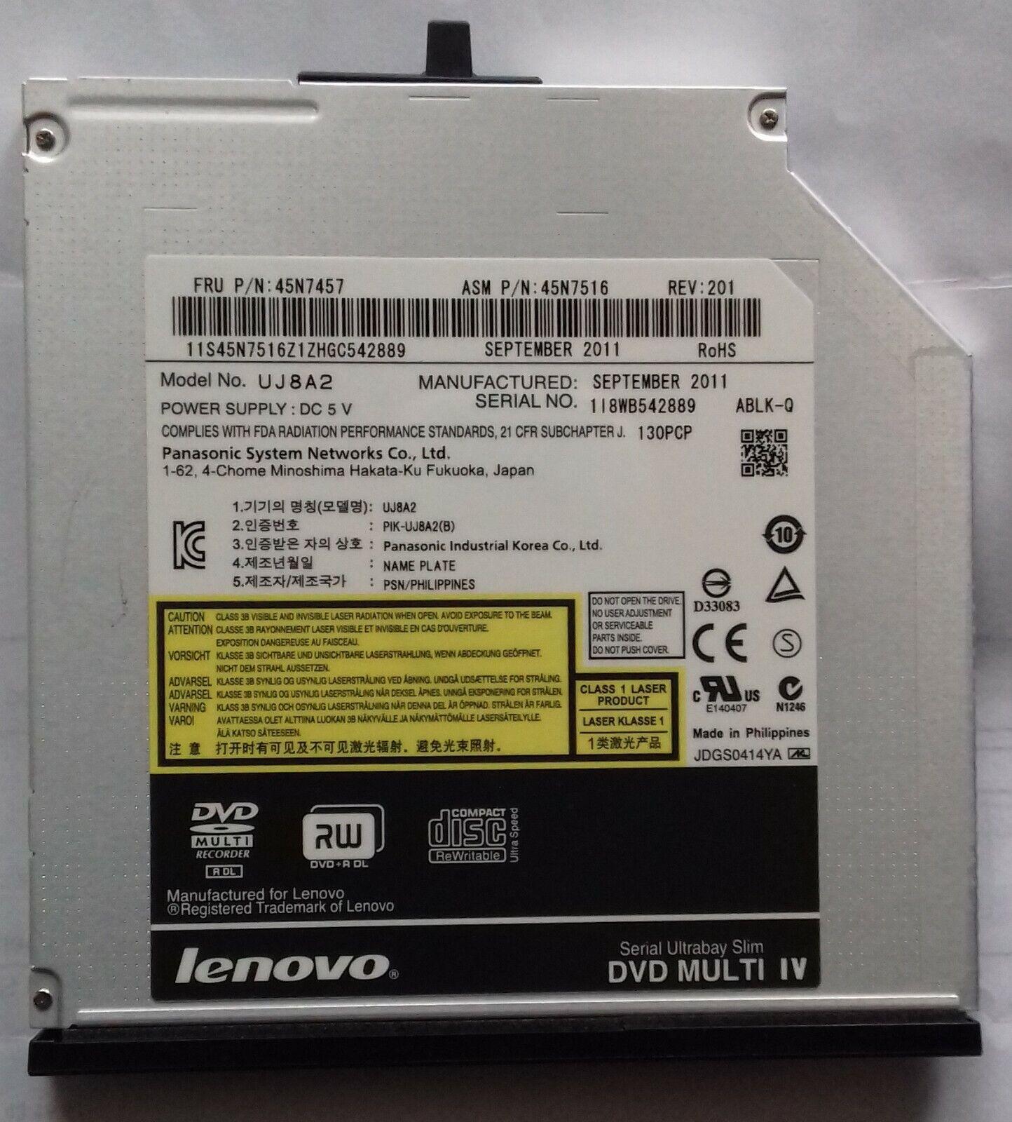 Lecteur graveur cd / dvd panasonic uj8a2 pour pc portable