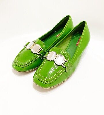PRADA - VTG Rhinestone Jeweled Green Patent Leather Slip on Loafer Flats Shoes 7