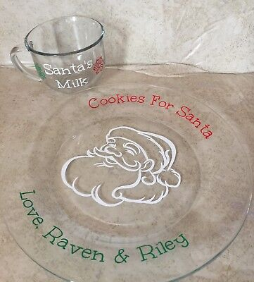 Personalized Santa Plate Cookies For Santa and Santa's Milk Glass (Personalized Cookies For Santa Plate)