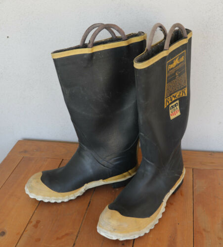 Ranger FireWalker Firefighter Turnout Rubber Boots Steel Toe Size 9M Made in USA