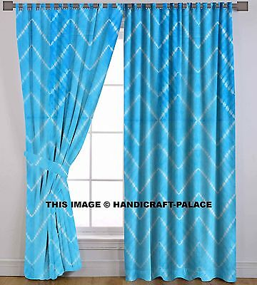 Tie Dye Waves Valances Curtains Indian Handmade Tab Top Door Hanging Curtain Set