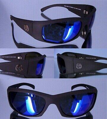 Herren Biker Sonnenbrille mit Skull und  Kreuz Symbol 400UV Schutzpass Glas blau (Skull Sonnenbrille)