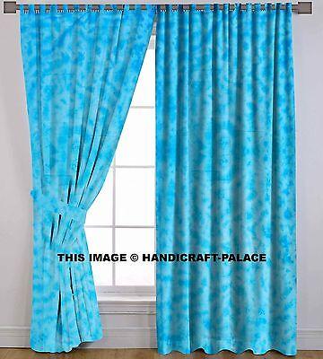 Indian Window Cotton Shibori Tab Top Curtains Valances Door Hanging Boho 2 PCs