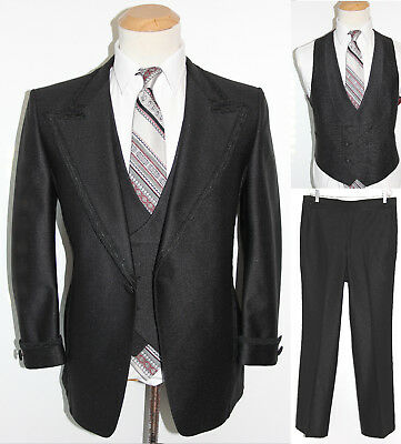 40S Mens 3Pc Vintage 1970s Phoenix Black Tuxedo Wedding Luxury Pinstripe Suit