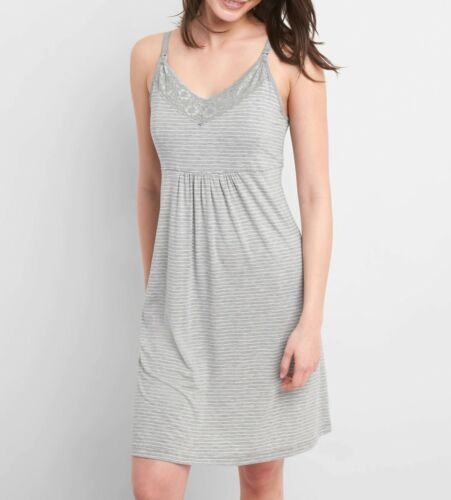 GAP Maternity Nursing Nightgown GREY STRIPE - #42217-6