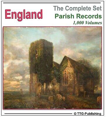 English Parish Registers - 1,000 Books on 4 DVDs! - England Genealogy History 71