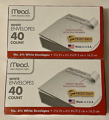 2 Pack Of 40 Easy Seal Mailing Envelopes Office Supplies 6 34 Small Self Seal