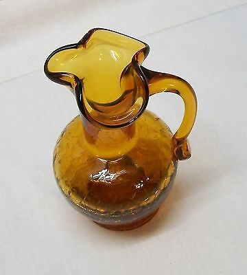 Hand Blown Amber Crackle Glass Small Pitcher or Vase with Applied Handle Vintage