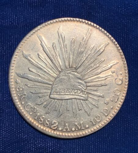 MEXICO  CULIACAN MINT 1882-CnAM  8 REALES SILVER COIN, ALMOST UNCIRCULATED