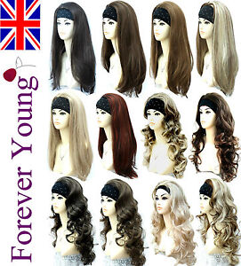 Ladies-3-4-Wig-Fall-Half-Wig-Clip-In-Hair-Extension-Black-Brown-Blonde-Wigs