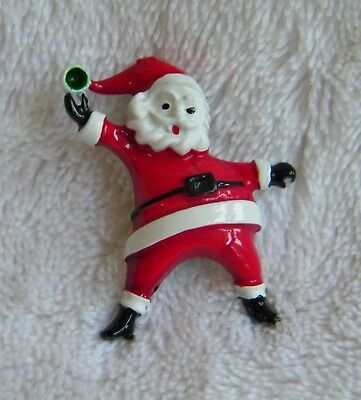 Vintage Christmas Holiday Metal Santa Claus Throwing A Snowball Pin Brooch