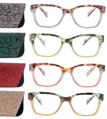 Womens Reading Glasses Tortoise Two Tone Sqaure Spring Hinge Readers with -