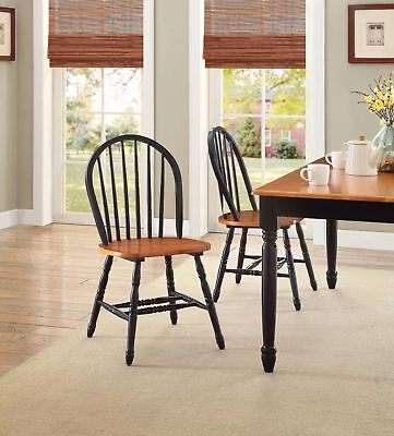 Set 2 Windsor Dining Chairs Oak Black Finish Wood High Back Kitchen Furniture Back Windsor Dining Chair