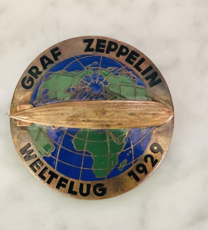 1929 Vintage German Graf Zeppelin World Tour Badge Pin