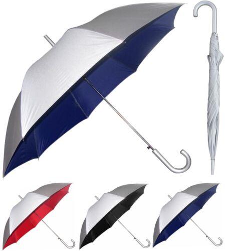 """48"""" Arc Silver Auto-Open Umbrella Rain/Shine - RainStoppers Rain/Sun UV Fashion"""