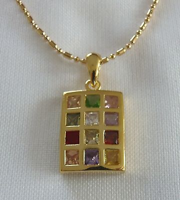 Jewish 12 Tribes Israel Gold Plated Breastplate Ephod Necklace Chain included