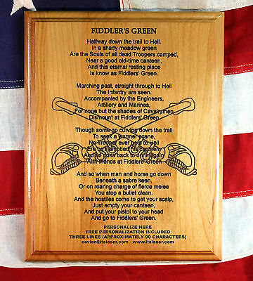 Personalized Fiddlers' Green Custom Wood Plaque, The Cavalrymen's Poem, -