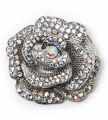 Silver Rose with Rhinestone Brooch, Women's Accessories, Pin, Gift Idea ()