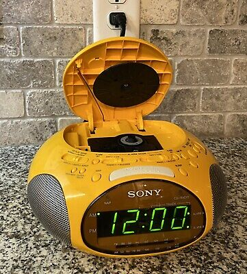 Sony Dream Machine Psyc ICF-CD831 CD Player Alarm Clock Radio Yellow (TESTED)