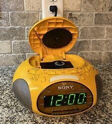Sony Dream Machine Psyc ICF-CD831 CD Player Alarm Clock Radio Yellow (TESTED)