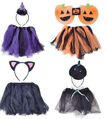 Mädchen Katze Hexe Pumpkin Tutu Halloween Kostüm Kleid Outfit Satz