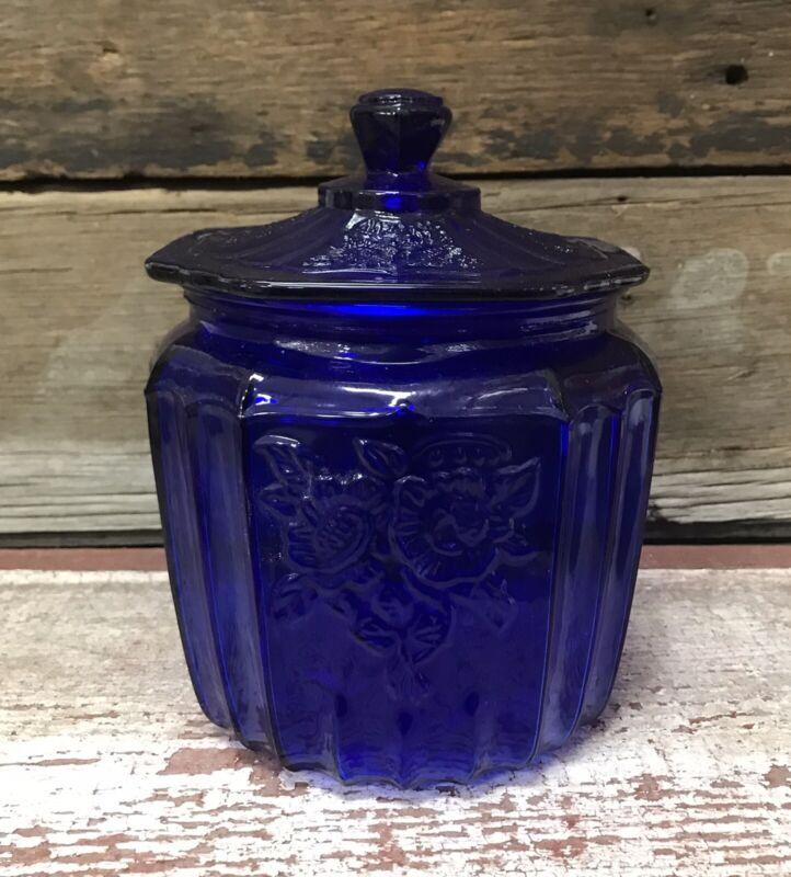 Cobalt Blue Glass Vintage-Style Kitchen Biscuit Jar with Lid