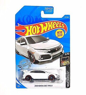 Hot Wheels 2019 HW Nightburnerz '18 HONDA CIVIC TYPE R 1:64 Scale White Car -NEW