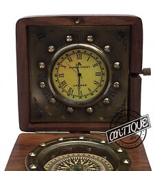 Victorian Clock/Desk Compass Wooden Vintage Table Clock Christmas Gift Women/Men