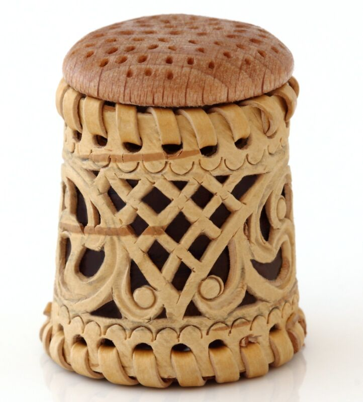 """Russian Birch Bark Wooden Thimble Handmade Rare Limited Edition Collectible 1.3"""""""