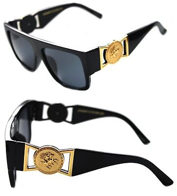 c97fd520bf0 424 Medusa Gold Metal Logo Coin Flat Top Sunglasses Metal Retro Black Hip  Hop