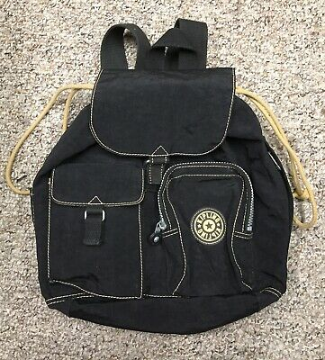 Kipling Backpack Black Nylon Drawstring Top, Flap Front Nice