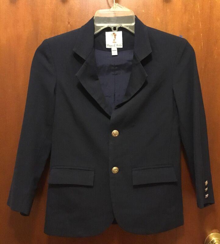 Boy PAPO D'ANJO Navy Blue Gold 2 Button Classic Blazer Sz 8y EUC Wool Blend