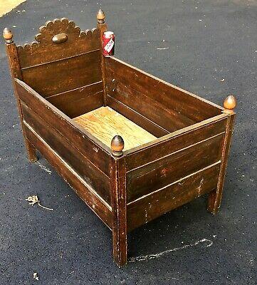 Antique BABY BED Pegged Southern Furniture beveled panels carved oak dog crib